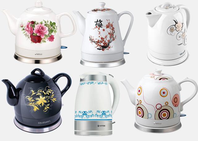 чайники с различными рисунками на корпусе